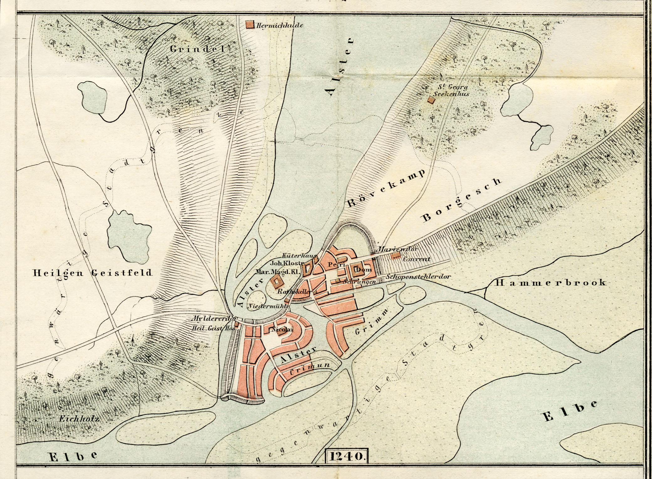 Alte historische Stadtkarte Hamburg Altona Stadtplan Lithographie 1904